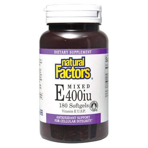 Natural Factors 400 iu Vitamin E U.S.P. is a fat-soluble vitamin and antioxidant that protects cell membranes and prevents free radical damage, supporting the cardiovascular system and general health..