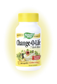 Nature's Way Change-O-Life has been formulated to provide herbal suppert for menopausal and post-menopausal women..