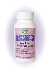 Femaprin is the most widely used supplement for balancing a woman's monthly cycle and for the avoidance of periodic discomforts. Trusted for over 40 years by European health practitioners, Femaprin's unique formula combines clinically proven standardized Vitex (ChasteTree) extract with Vitamin B-6 to help alleviate the bloating, breast tenderness and mood changes associated with premenstrual syndrome (PMS)..