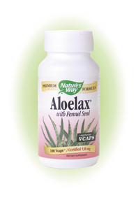 Nature's Way Aloelax with Fennel Seed, a proprietary blend of aloe vera latex and fennel seed..