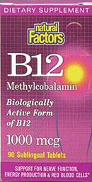 Natural Factors Vitamin B12 Methylcobalamin is the biologically active form of B12, providing support for nerve function, energy production and red blood cells..