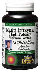 Multi Enzyme capsules are the optimal digestive aid containing a full spectrum of plant-derived enzymes in a single supplement.  To help improve the body's absorption of nutrients, these valuable enzymes break down carbohydrates, proteins, and fats.  This includes starch, cellulose, lactose, and other sugars.  Natural supplementation is an excellent way to replenish enzymes lost from foods during cooking and processing..