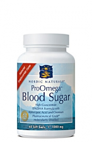 ProOmega Blood Sugar from Nordic Naturals contains highly concentrated Omega-3 fatty acids which work in a synergistic fashion with Chromium, and Alpha-Lipoic Acid to help maintain healthy blood sugar levels..