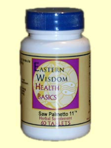 Eastern Wisdom Saw Palmetto 11 is a good support for prostate health for men over the age of forty. Acupuncture and Chinese herbal medicine have been excellent tools for improving male prostate health worldwide. This formula is use as preventative support..