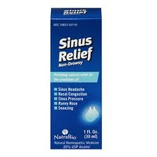 Sinus Relief from NatraBio provides relief for allergies and sinus congestion, moisturizing nasal passages and alleviating pressure..